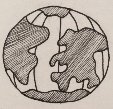 Globe in black pen.